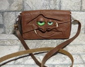 Wallet Purse Cross Body With Face Small Monster Harry Potter Labyrinth Brown Leather Detachable Strap Convertible 396