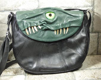 Cross Body Adjustable Purse With Face Monster Green Black Leather Harry Potter Labyrinth Goth Black Rockabilly 383