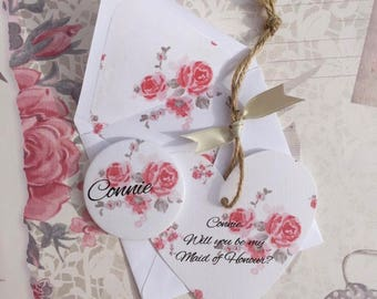 Will You be my Bridesmaid? Country Rose Design