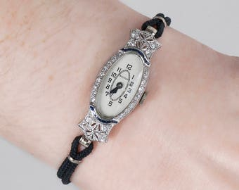 Antique Watch - Antique Ladies Art Deco Bulova Platinum Diamond & Sapphire Wrist Watch