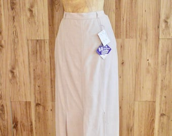 1960s Miracle Sportswear Boston Skirt, Sixties Silk Midi Skirt, Deadstock Off White Box Pleat Skirt, Long Lightweight Silk Summer Skirt