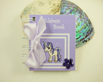 Mini Address Book, Purple Unicorn, Emergency Contact Number Book, Handmade Blank Book,Miniature Book 3 Inches tall, Lilac Unicorn Book