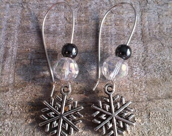 Snowflakes earrings large silvery Hematite clasps