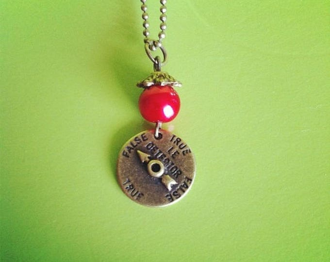 Red lie detector brass chain necklace