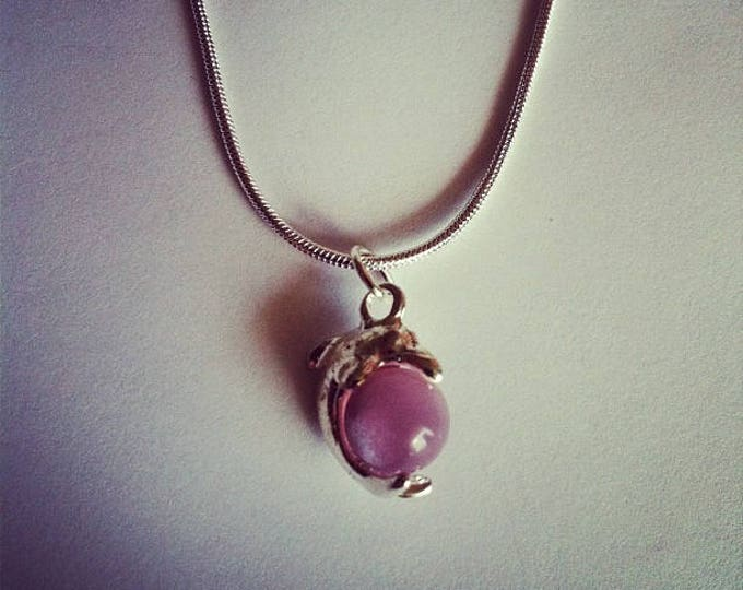Dolphin pendant chain pink glass bead