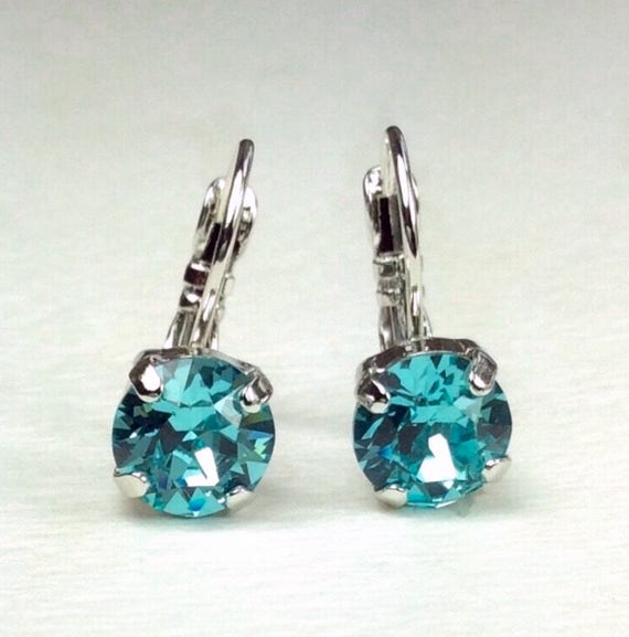 Swarovski Crystal 8.5mm Lever- Back Drop Earrings - Classy - Light Turquoise - OR Choose Your Favorite Color and Finish -  FREE SHIPPING