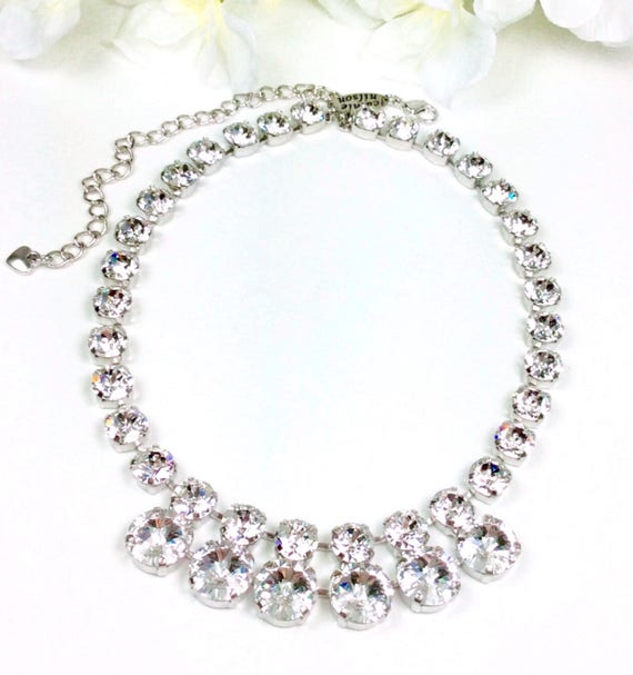 "Swarovski Crystal 12MM/8.5mm- Radiant - ""Goddess"" Necklace - Clear Crystal -  Designer Inspired  FREE SHIPPING - SALE - Was 85. Now 70."