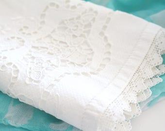 VINTAGE TEA TOWEL or Basket Liner, Vintage Cotton Linen, Open Cutwork, White on White Design, Kitchen or Powder Room Decor, Tea Party