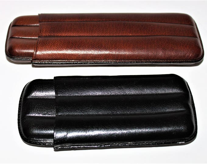 Two Vintage Handmade Leather Cigar Cases made in Spain