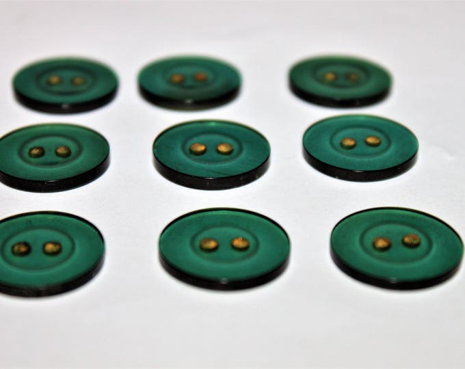 Set of Nine Vintage Buttons in a Translucent Wine Bottle Green Color