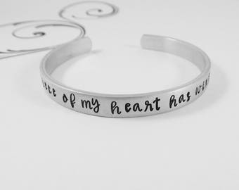 """Miscarriage Bracelet - """"A piece of my heart has wings"""" - Hand Stamped Memorial Jewelry - Remembrance - Bereavement Gift"""