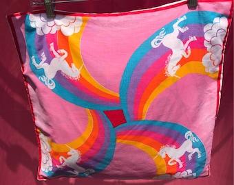 70's Unicorn Rainbow pillow