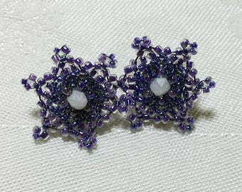 Beaded Post Earrings Flower Post Earrings Flower Earrings Purple Earrings Beadwoven Earrings Beadwork Earrings Seed Bead Earrings