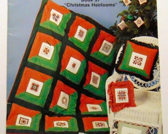 "Counted Cross stitch book ""Christmas Heirlooms"" Quilting Blocks 1982"