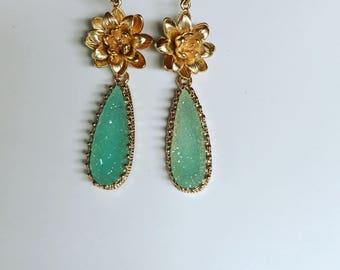 Druzy Rose Bridesmaid Earrings // Double Drop Druzy Earrings // Sparkling Druzy Wedding Earrings