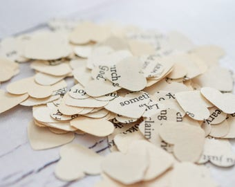 "Book page confetti, 200 pieces, Christian religious themed book heart paper punches, .5"" ivory confetti, ready to ship"
