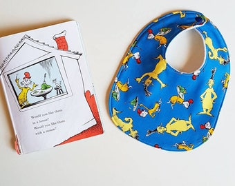 Dr Seuss inspired Green Eggs and Ham bandana baby bib