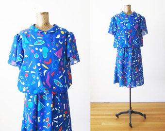 80s dress - 80s squiggle shapes dress - memphis design - 1980s clothing - blue dress - colorful sundress - peter pan collar dress - M