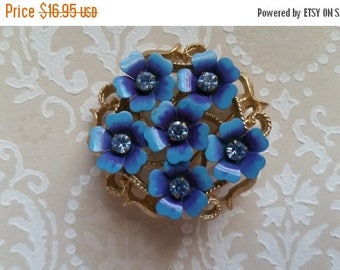 ON SALE 25% OFF Vintage Avon Blue Rhinestone Flower Brooch Pin Metal