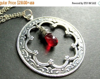 SUMMER SALE Silver Wreath Necklace. Charm Necklace in Silver with Wire Wrapped Glass Teardrop. Handmade Jewelry.