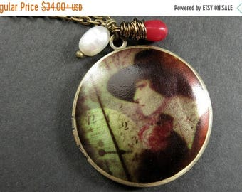 SUMMER SALE Elegant Woman Locket Necklace with Red Coral and Fresh Water Pearl. Handmade Jewelry.