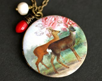 Woodland Necklace. Deer Locket Necklace with Red Coral Teardrop and Fresh Water Pearl. Deer Necklace. Photo Locket. Bronze Necklace.
