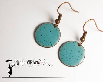 turquoise enamel earrings painted with dots, 1cm