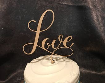 Love Wood Wedding or Anniversary Cake Topper