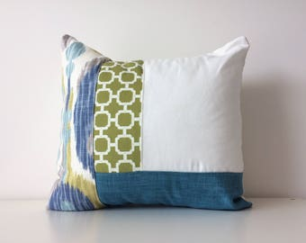 Modern Patchwork Pillow Cover, 20x20, Braemore Cushion Cover, Geometric, Ikat, Pattern Colour Block, Texture, Sea Sky Blues Greens