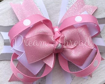 Boutique loop Double Stacked Hairbows, Baby Boutique Bows, HairBows, Flower Hairbows, girls (made to order)