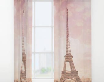 Paris Pink Curtains - Eiffel Tower, Shabby Chic, Limited Edition Art Curtain, Fine Art Photography, Travel, France, Home Decor
