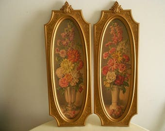 2 Baroque gold pictures, vintage 1960 ornate oval floral pictures homco
