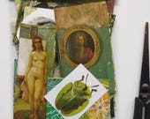 Collage kit, color coordinated, GREEN, art kit, paper goodies, clippings, journaling, scrapbooking