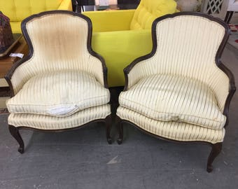 Baker Petite Bergeres, French Chairs Pair