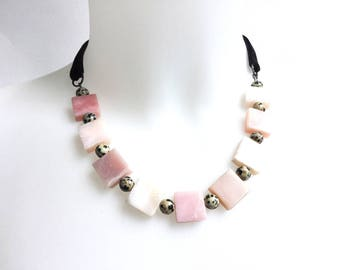 Gorgeous Pink and Black Geometric Gemstone Necklace with Black Velvet Ribbon