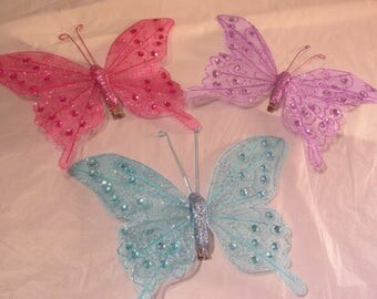 """7"""" Sparkle Butterfly for Craft Projects - FREE SHIP"""