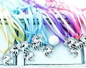 Unicorn Necklace | Unicorn charm | Unicorn Jewelry | Unicorn Party | Ribbon | Castle | Fantasy | Licorne | Unicorn Favor | Licorne Favor