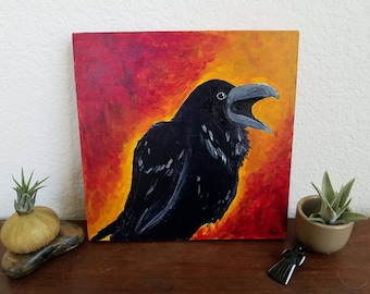 Raven's Call: acrylic painting on cradled wood panel, 8x8 inches