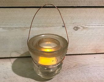 Vintage Hemingray clear insulator upcycled into a tea light candle holder Reclaimed insulator Unique