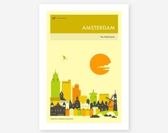 AMSTERDAM TRAVEL POSTER (Giclée Fine Art Print, Photo Print or Poster Print) by Jazzberry Blue