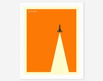 EXPLORE (Giclée Fine Art Print, Photo Print or Poster Print) Minimal Space Travel Poster