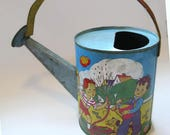 vintage toy watering can, tin with colorful kids