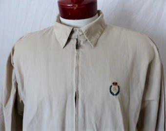 vintage 90's Chaps Ralph Lauren solid beige khaki cotton twill windbreaker jacket full zip embroidered crest logo medium preppy minimalist