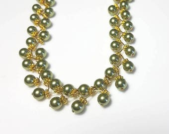 multistrand green Swarovski crystal pearl gold necklace multi strand beaded necklace double strand necklace unique handmade jewelry