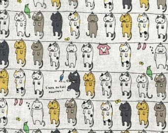 Fat Quarter Cats On The Line Out To Dry Cotton Linen Mix Quilting Fabric