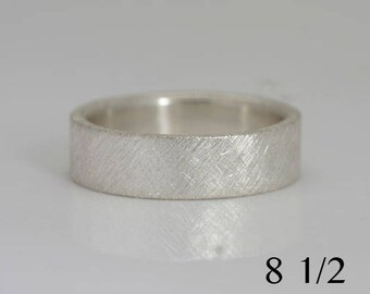 Sterling silver band, crosshatch texture, size 8 1/2 ready to ship or custom sizes 4 to 14, #558.