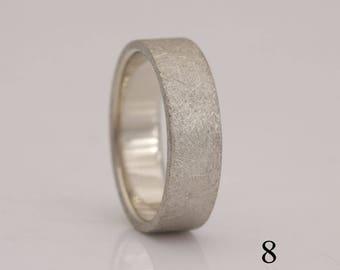 14k white gold wedding band, textured surface, size 8 ready to ship, plus custom sizes 8 thru 13, #770.