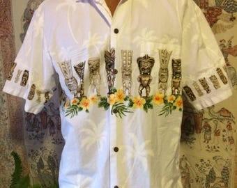 Men's white Hawaiian tiki print shirt