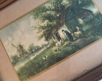Vintage picture featuring a little thatch cottage and lambs.  Peaceful scene and perfect piece of art for vintage decor