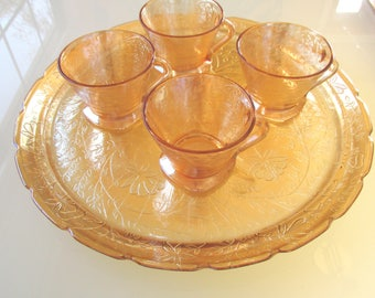 Vintage FLORAGOLD LOUISA cups and tray set  by Jeanette Glass